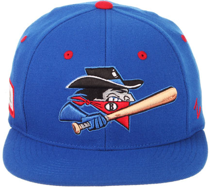 89f57102f61 (1512) Bakersfield Train Robbers Snapback Hat Length-  24.95 Solid Blue  with Red button and Red Inlets. Bakersfield Script.